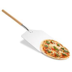 Original Pizzaschaufel aus Metall eckig 80 x 31 cm - Pizzaheber für Pizza-Ofen mit langem Holz-Griff; Pizzaschieber auch als Ofenschaufel und Brotschieber