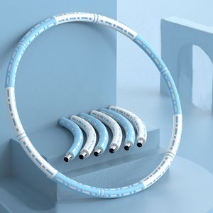 Hula Hoop, Fitness Gewichtsverlust Hula Hoop, 6-stufiges einstellbares Gewicht,  Fitness Bauchformung, blau weiß