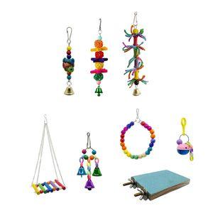 8er Set Bunte Kauspielzeug Schaukel Vogelspielzeug für Papageien Wellensittiche Nymphensittiche Kanarienvogel Kakadus Aras