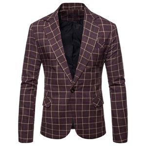 Mens Casual Plaid Business Hochzeitsanzug Revers Slim Fit Outwear Blazer Mantel Größe:XXL,Farbe:Braun