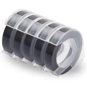 UniPlus 5x Kompatibel 3D Prägeband als Ersatz für Dymo Embossing 3D Etikettenband 9mm x 3m Weiß auf Schwarz für Dymo Omega Junior Embosser, Old Rotex Embosser, Oldschool Etikettenprägegerät