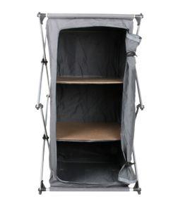 Campingschrank faltbar mit 2 Regalen und Tragegriff, Aluminium Polyester-Faltschrank für Camping und Haushalt, 3 Fächer, Größe (HxBxT) ca. 96 x 53 x 50 cm