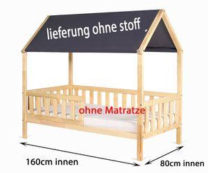 Kinderbett Jugendbett Holz Haus  mit Dach  160x80 und 180x80 Clamaro, Bettgröße:160 x 80 cm