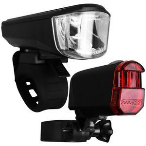 Fahrrad Beleuchtungsset mit Batterien und StVZO-Zulassung  Frontleuchte Rückleuchte Fahrradlicht Rücklicht Fahrradleuchte Frontlicht