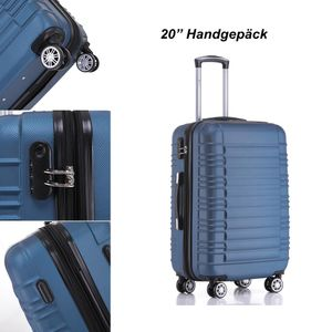 Reise Koffer Hartschalenkoffer Trolley Reisekoffer M Dunkelblau 4 Rollen Roll-Koffer Handgepäck