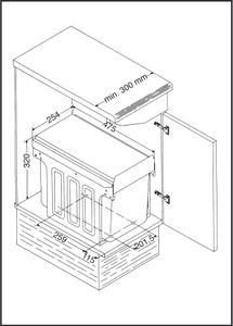 Wesco EinbauabfallsammlerDouble - Anthrazit, 30 cm Schrank, 24 Liter (16 + 8)
