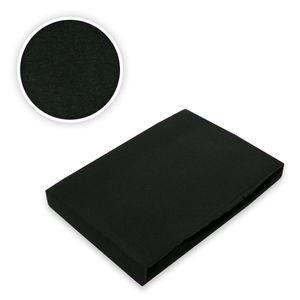 Jersey Spannbettlaken Spannbetttuch Bettlaken Marke Rundumgummizug 180 - 200 x 200 cm Schwarz
