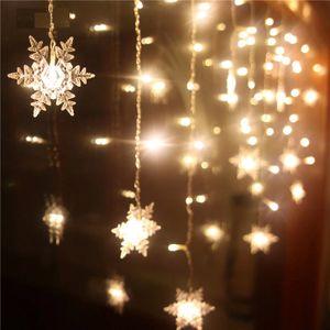 LED Lichterkette Schneeflockevorhang Lichtervorhang Weihnachten Xmas Party Deko Warmweiß