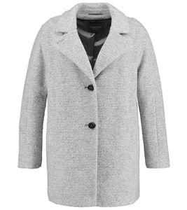 SAMOON Woll-Mantel kuschelige Damen Frühlings-Jacke Große Größen Hellgrau, Größe:52
