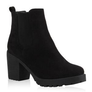 Mytrendshoe Damen Stiefeletten Chelsea Boots Profilsohle 70?s Schuhe 76870, Farbe: Schwarz, Größe: 39
