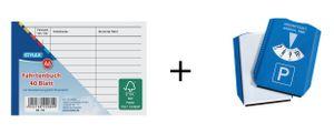 5x Fahrtenbuch / DIN A6 / 40 Blatt + Parkscheibe mit integrierten Eiskratzer