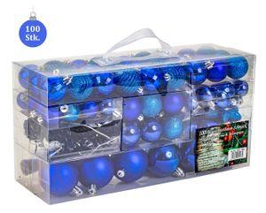 100 teiliges Set Lamettini Blau Weihnachtskugeln Spitze Lametta Anhänger