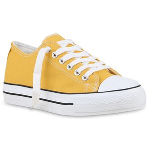 Mytrendshoe Damen Plateau Sneaker Turnschuhe Schnürer Basic Plateauschuhe 825911, Farbe: Gelb, Größe: 37