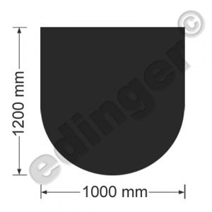 Funkenschutzplatte Bodenplatte halbrund Senotherm schwarz 1000x1200 mm