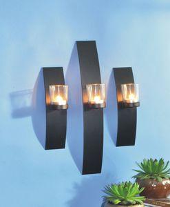 3er Set Wandkerzenhalter Teelichthalter Wanddekoration Kerzenhalter in Schwarz