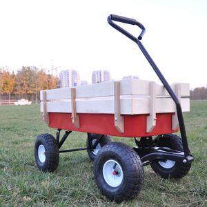 Kinder Bollerwagen Transportwagen Gartenwagen mit Luftbereifung  und Holzzaun
