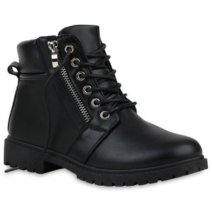 Mytrendshoe Damen Stiefeletten Worker Boots Schnürer Zipper Blockabsatz Schuhe 835395, Farbe: Schwarz, Größe: 38
