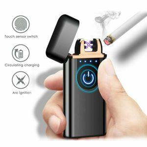 Lichtbogen USB Feuerzeug Touch Sensor Flammenloses Elektro-Feuerzeug Aufladbar Schwarz