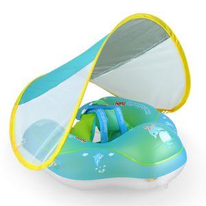 Aufblasbarer Baby-Schwimmring mit abnehmbarem Schwimmtrainer fš¹r schwimmenden Pool mit Sonnenschutz