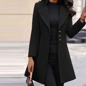 Damenmode Langarm Wollrevers Einfarbiger langer Jackenmantel Größe:M,Farbe:Schwarz
