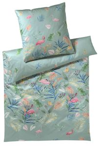 elegante Mako-Satin Bettwäsche  Flamingo salbei 2319-04 exotische Traumlandschft, GRÖßENAUSWAHL:135x200 cm + 80x80 cm