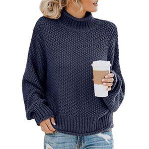 Strickpullover-Damenhemd mit hohem Halsausschnitt,Farbe: Navy blau,Größe:XL