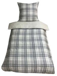Bettwäsche 155x220 + 80x80 cm Baumwoll-Satin Kariert schwarz weiß beige mit Reißverschluss, 2-tlg