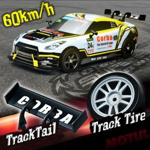 (Gelb weiss) 1:16 60 km / h RC Drift Rennwagen 4WD 2.4GHigh Speed Fernbedienung Spielzeug Modell Geschenk