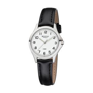 Regent Leder Damen Uhr 2112418 Analog Armbanduhr schwarz Lederarmband D2UR2112418