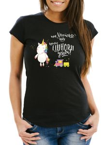 Damen T-Shirt Nur Verrückte hier komm Einhorn wir gehen Unicorn Spruch Slim Fit Moonworks® schwarz-weiß L