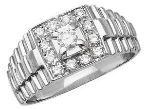 Edler 925 Sterling Silber Herren - Ring mit Zirkonia, 60 (19.1); WJS22490