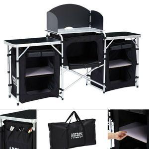 AREBOS - Campingküche XL Schwarz/Grau Tragbar Ideal für: Garten, Camping, Party