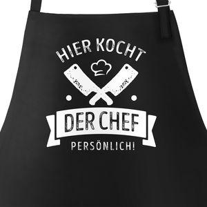 Grill-Schürze Kochschürze für Männer mit Spruch Hier kocht der Chef persönlich Baumwoll-Schürze Küchenschürze Moonworks® schwarz unisize