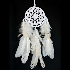 Traumfänger Dreamcatcher gehäkelt Ring 9cm Länge 36cm weiß gute Träume, Indianer