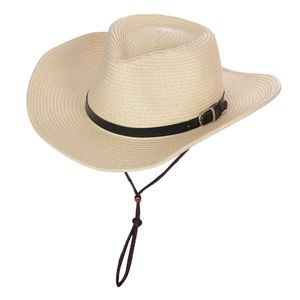 Faltbarer Herren Damen Cowboyhut Westernhut Strohhut Western Kostüm Sommer Strand Breite Krempe Sonnenhut Farbe Beige