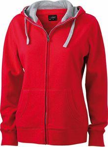 JN962 Damen Lifestyle Sweatshirt Jacke mit Kapuze, Größe:XXL, Farbe:RED