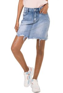 Nina Carter Damen Fransen Jeans Rock Destroyed Midi Skirt D2354, Farben:Blau, Größe:40