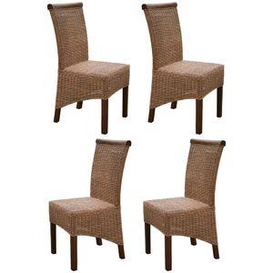 KMH® 4er Set Korbstühle *Larissa* honig