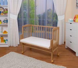 WALDIN Baby Beistellbett mit Matratze, höhen-verstellbar, Holz natur oder weiß lackiert, Farbe:Natur unbehandelt