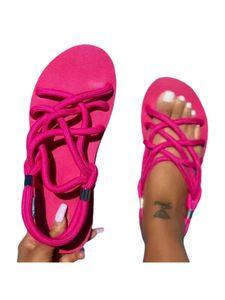 Abtel Ladies Braided Rope Sandalen Bequeme Outdoor-Schuhe Fashion Open Toe,Farbe:Rosenrot,Größe:41