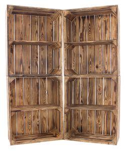 5x Schönes Bücherregal aus Holz in geflammter Optik, mit einem Mittelbrett, auch für Bücher / DVDs / CDs, neu, 50x40x22cm