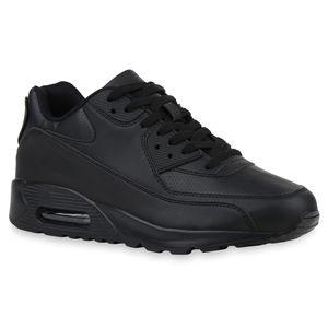 Mytrendshoe Herren Sportschuhe Laufschuhe Freizeit Sneaker Fitness Schnürer 832963, Farbe: Schwarz, Größe: 42