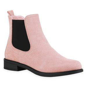 Mytrendshoe Damen Chelsea Boots Leicht Gefüttert Stiefeletten Blockabsatz 835401, Farbe: Rosa, Größe: 39