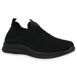 Mytrendshoe Herren Sportschuhe Slip Ons Fitness Laufschuhe Strick Sneaker 832953, Farbe: Schwarz, Größe: 41