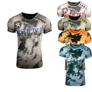 Rusty Neal Batik Herren T-Shirt No Mercy mit Front Logo Print Kurzarm, Größe:M, Farbe:Anthrazit