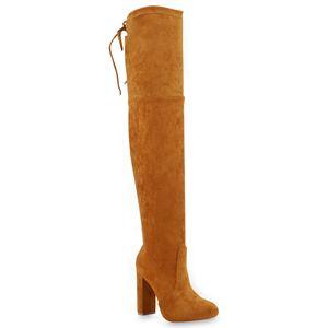 Mytrendshoe Damen Overknees Stiefel High Heel Boots Schuhe 825730, Farbe: Dark Yellow, Größe: 37