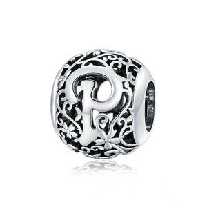 Sterling Silber Alphabet Charm Romantischer Buchstabe P