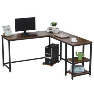HOMCOM Computertisch, L-förmiger Eckschreibtisch, Schreibtisch, Bürotisch, MDF+Stahl, Walnussfarbe+Schwarz, 150 x 150 x 76 cm