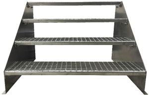 4 stufige freistehende Stahltreppe Standtreppe Breite 100cm / Geschosshöhe 84cm verzinkt