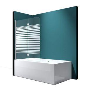 Mai & Mai Faltwand Badewanne 120x140cm Badewannenaufsatz Duschwand 180° ESG Teilsatiniert NANO C1408SL